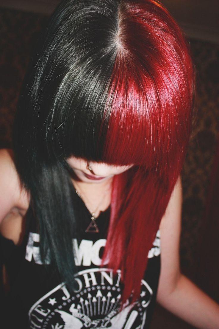 split hair rouge et noir